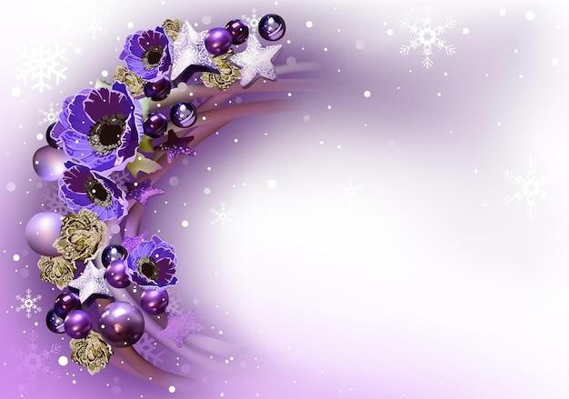 Couronne violette comme arrière-plan abstrait de noël