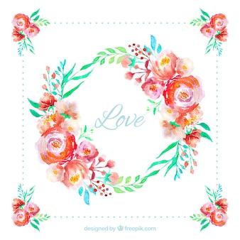 Couronnes et bouquets de fleurs aquarelle saint valentin