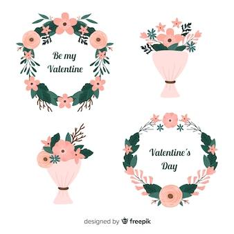Couronnes et bouquets de fleurs plates pour la saint-valentin