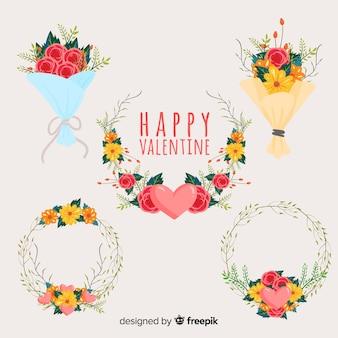 Couronnes et bouquets de fleurs pour la saint-valentin