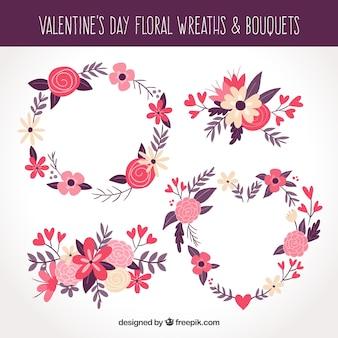 Couronnes et bouquets de fleurs de saint valentin dessinés à la main