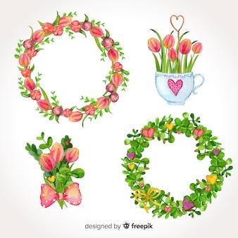 Couronnes et bouquets de fleurs de la saint-valentin
