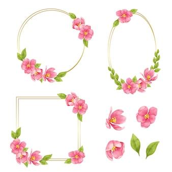 Couronnes de cadre floral. ensemble de fleurs aquarelles de cadre. fleur d'alstroemeria bouquet coloré aquarelle.