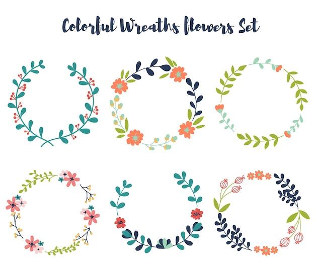 Couronnes colorées vecteur floral
