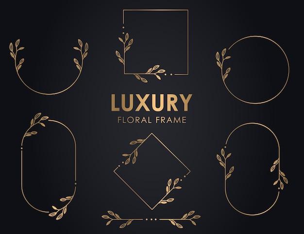 Couronnes décoratives dessinées à la main avec branches, cadres ronds floraux de luxe, couronne florale de qualité supérieure.