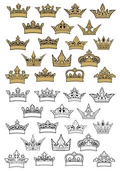 Couronnes impériales et royales héraldiques serties d'éléments dorés et de contour