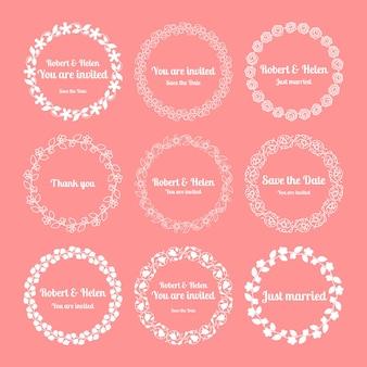 Couronnes de mariage florales. enregistrez les éléments d'invitation à la date
