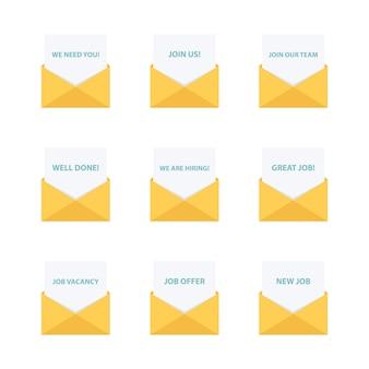Courriel professionnel. collection de lettres commerciales. message d'entreprise.