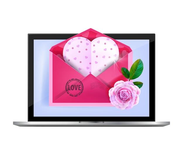 Courriel de la saint-valentin, message d'amour, illustration de liste de diffusion romantique avec ordinateur portable, enveloppe rose ouverte. concept de poste heureux de vacances, rose, fleur, carte postale de coeur. e-mail de la saint-valentin isolé