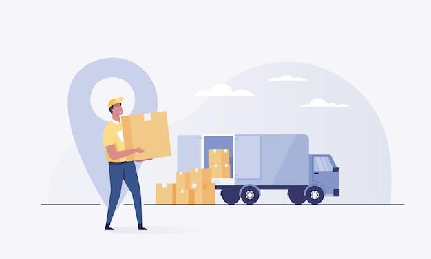 Courrier avec le colis sur le fond de la camionnette du service de livraison.