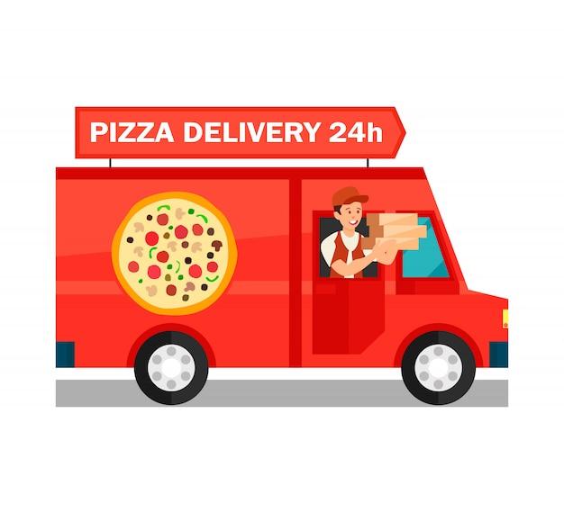 Courrier dans la livraison camion cartoon illustration