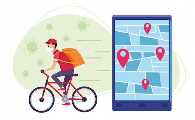 Courrier dans le service en ligne de livraison de vélos