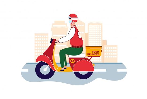 Courrier de dessin animé avec scooter et masque, transport de livraison de nourriture