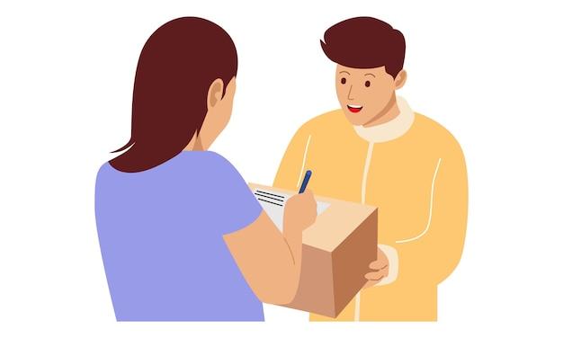 Courrier donne un paquet à une fille