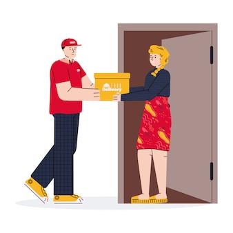 Courrier du service de livraison de nourriture donnant la boîte de commande au client