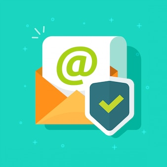 Courrier électronique protégé en ligne avec l'icône de bouclier