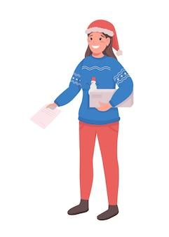 Courrier de femme au caractère plat de couleur de chapeau de père noël. postwoman avec commande et presse-papiers. illustration de dessin animé isolée de livraison de saison de vacances pour la conception graphique et l'animation web