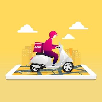 Courrier homme équitation scooter avec boîte de colis sur téléphone mobile et fond de ville.