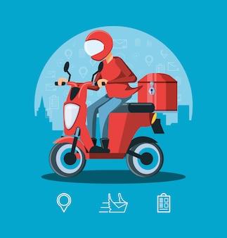 Courrier homme de service logistique en moto
