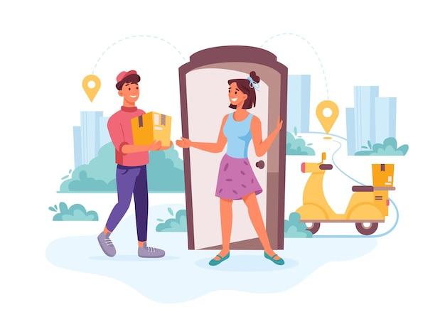 Courrier de livraison client heureux avec colis de commande livrant commande express vecteur plat dessin animé courrier