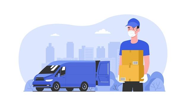 Le courrier de livraison dans un masque médical remet les boîtes déchargées de la camionnette. illustration vectorielle.