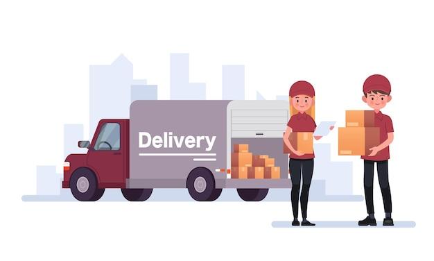 Courrier de livraison transportant des colis avec illustration de camion de livraison