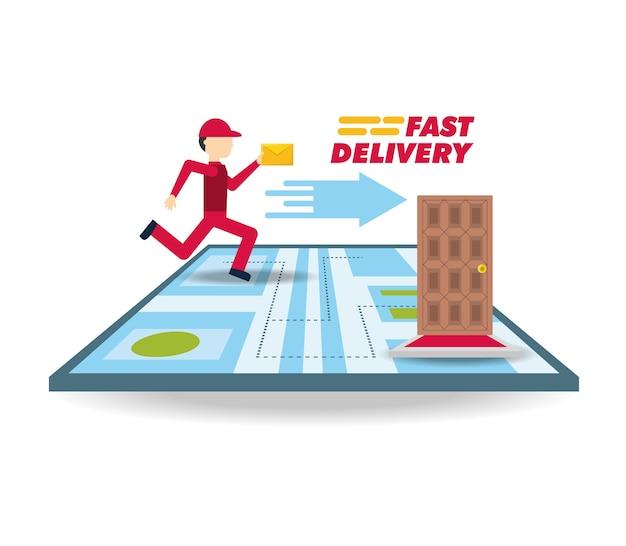 Courrier de livraison avec ubication de message et de carte
