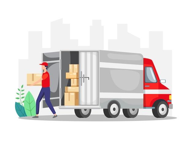 Courrier livrant un colis avec camion