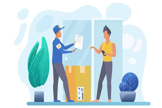 Courrier livrant le colis, illustration de la livraison express de colis