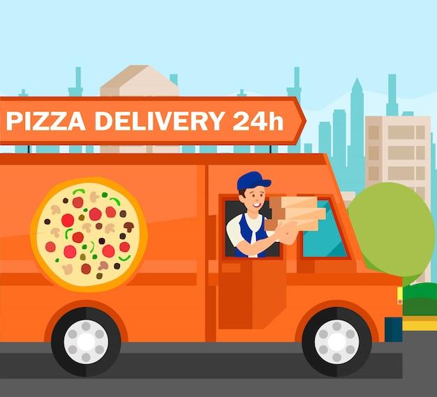 Courrier livrant des commandes alimentaires illustration vectorielle