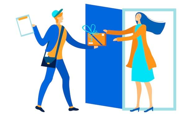 Courrier personnage masculin donnant femme boîte dessin animé