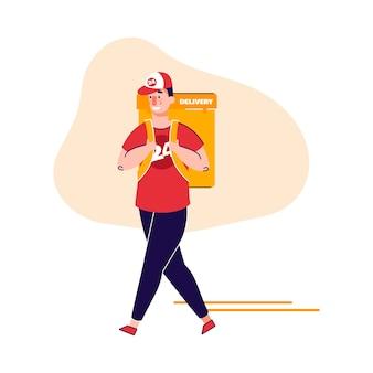 Courrier avec sac à dos thermique pour illustration vectorielle de restauration rapide livraison dessin animé