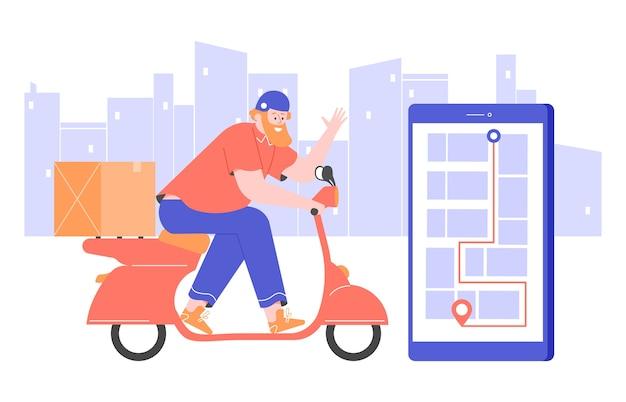 Le courrier sur un scooter dans un casque parcourt la ville.