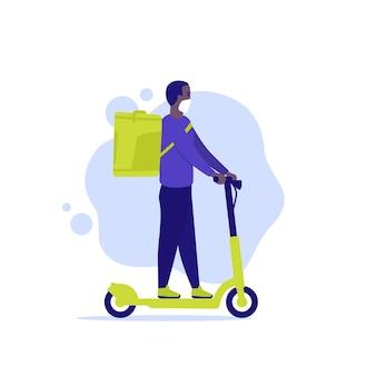 Courrier sur un scooter, vecteur de livreur
