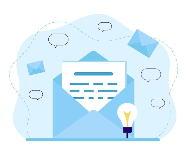 Courrier, service de courrier électronique, actualités, document ou lettre sous enveloppe avec envoi de message et de correspondance. lettre entrante ou sortante. e-mail, notification, message, sms, concept de spam. plat