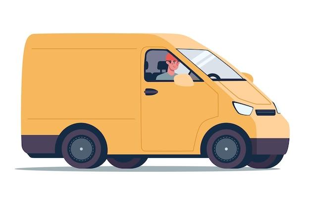 Courrier de service de livraison en ligne sur une camionnette jaune