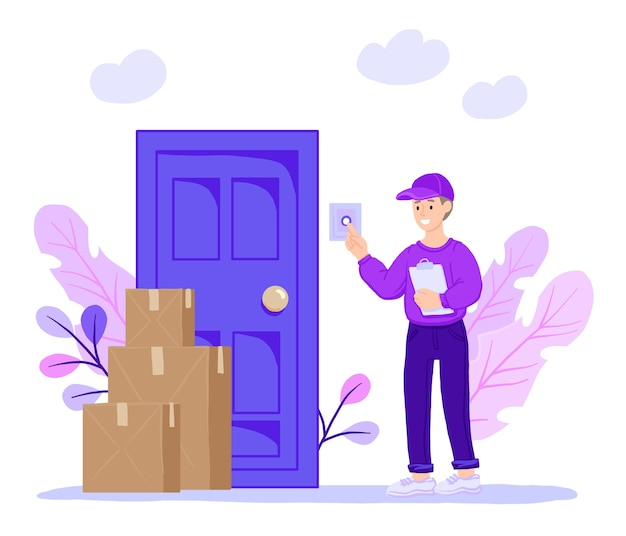 Un courrier souriant sonne à la porte de la maison.