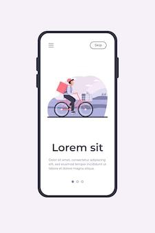 Courrier à vélo avec des colis. homme à vélo transportant des boîtes en illustration vectorielle plane panier et sac à dos. service de livraison, concept d'emploi pour bannière, conception de site web ou page web de destination