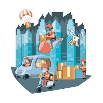 Courriers livraison service caractères icône vector illustration