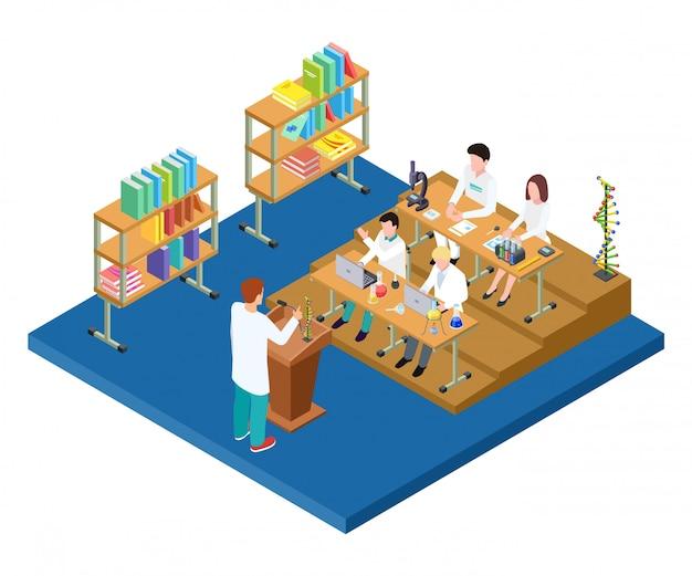 Cours de chimie isométrique. vecteur médical, scientifiques, étudiants en pharmaciens. travaux de laboratoire scientifique