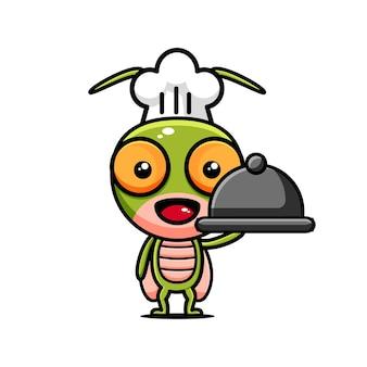 Cours de cuisine sur le thème de la conception de personnage de sauterelle mignonne