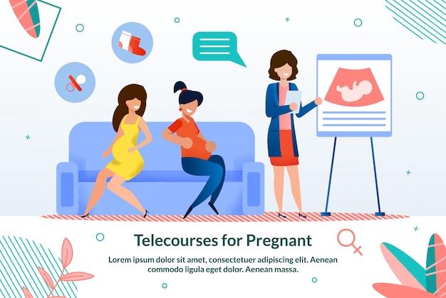 Cours à distance pour femmes enceintes illustration plate