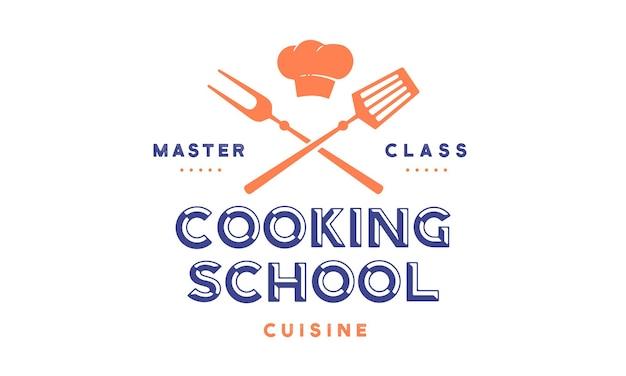 Cours d'école de cuisine avec des outils de barbecue icône, fourchette de gril, spatule, typographie de texte coocking school, master class