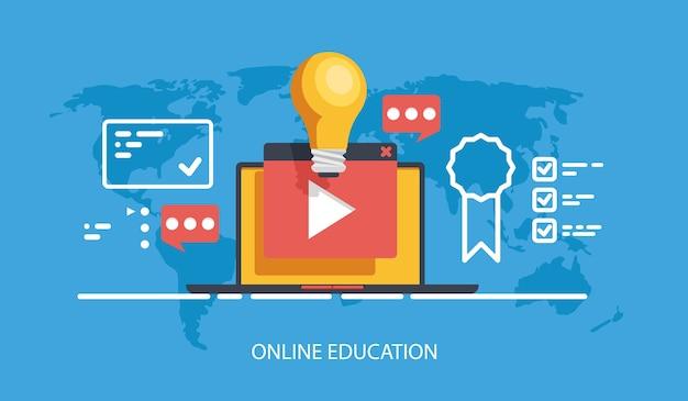 Cours d'éducation en ligne et bannière de formation, formation internet