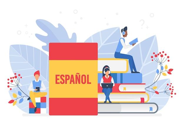 Cours D'espagnol En Ligne Concept D'école Ou D'université à Distance Vecteur Premium