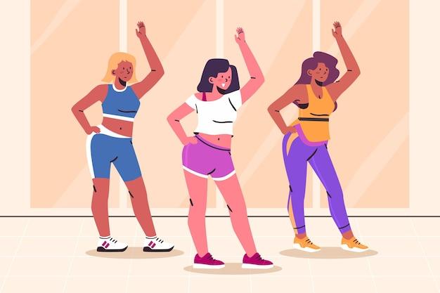 Cours de fitness de danse plat bio illustré