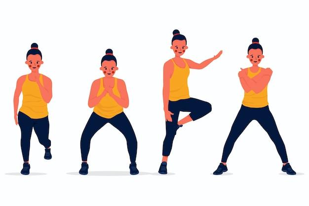 Cours de fitness danse à plat avec des gens