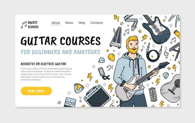 Cours de guitare dans la page de destination de l'école de musique dans le style doodle