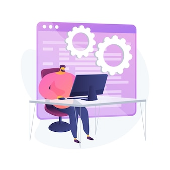 Cours d'informatique. formation informatique, opportunités d'apprentissage en ligne, technologie de webinaires. responsable de l'apprentissage en ligne à distance et de l'atelier internet. illustration de métaphore de concept isolé de vecteur