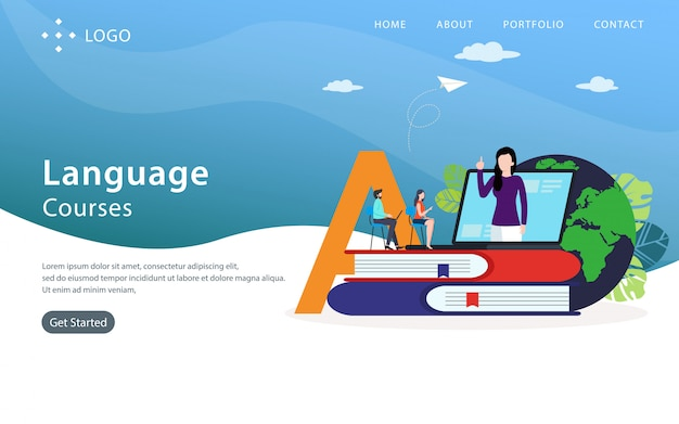 Cours de langue landing page, modèle de site web, facile à modifier et à personnaliser, illustration vectorielle